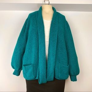 Vtg 80s teal oversized puff sleeve nubby cardigan